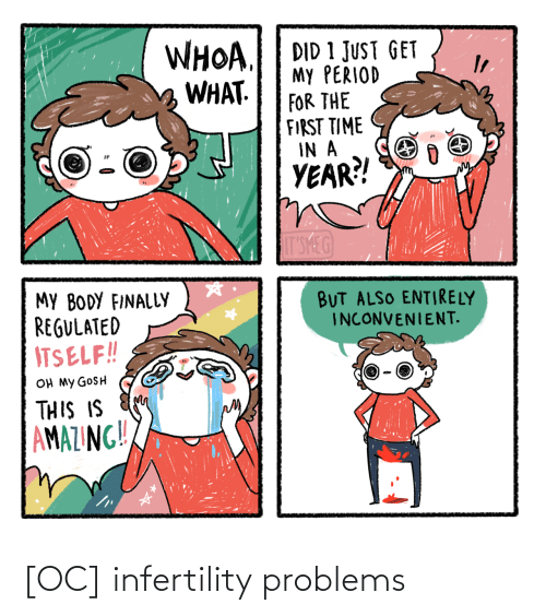 oh my: WHOA.  WHAT.  DID 1 JUST GET  My PERIOD  FOR THE  FIRST TIME  IN A  YEAR?!  IT'SMEG  MY BODY FINALLY  REGULATED  ITSELF!!  BUT ALSO ENTIRELY  INCONVENIENT.  OH MY GOSH  THIS IS  AMAZING!! [OC] infertility problems