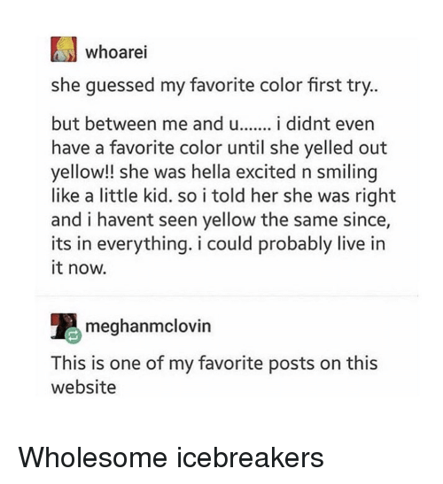 Live, Wholesome, and Her: whoarei  she guessed my favorite color first try  but between me and i didnt even  have a favorite color until she yelled out  yellow!! she was hella excited n smiling  like a little kid. so i told her she was right  and i havent seen yellow the same since,  its in everything. i could probably live in  it now.  meghanmclovin  This is one of my favorite posts on this  website Wholesome icebreakers