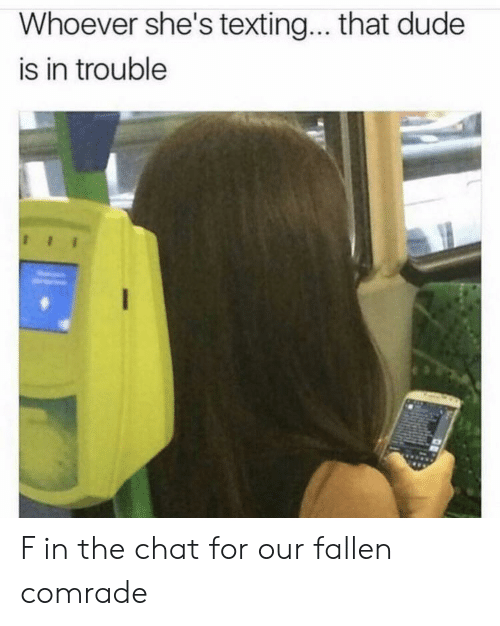 Dude, Chat, and Fallen: Whoever she's textin... that dude  is in trouble F in the chat for our fallen comrade