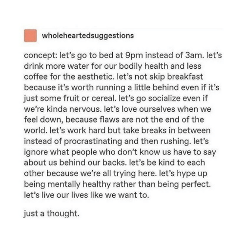 Hype, Love, and Work: wholeheartedsuggestions  concept: let's go to bed at 9pm instead of 3am. let's  drink more water for our bodily health and less  coffee for the aesthetic. let's not skip breakfast  because it's worth running a little behind even if it's  just some fruit or cereal. let's go socialize even if  we're kinda nervous. let's love ourselves when we  feel down, because flaws are not the end of the  world. let's work hard but take breaks in between  instead of procrastinating and then rushing. let's  ignore what people who don't know us have to say  about us behind our backs. let's be kind to each  other because we're all trying here. let's hype up  being mentally healthy rather than being perfect.  let's live our lives like we want to.  just a thought.