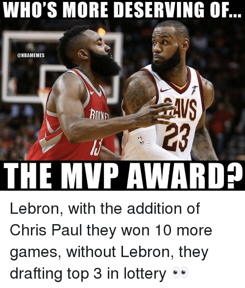 Drafting: WHO'S MORE DESERVING OF,  @NBAMEMES  23  THE MVP AWARD? Lebron, with the addition of Chris Paul they won 10 more games, without Lebron, they drafting top 3 in lottery 👀