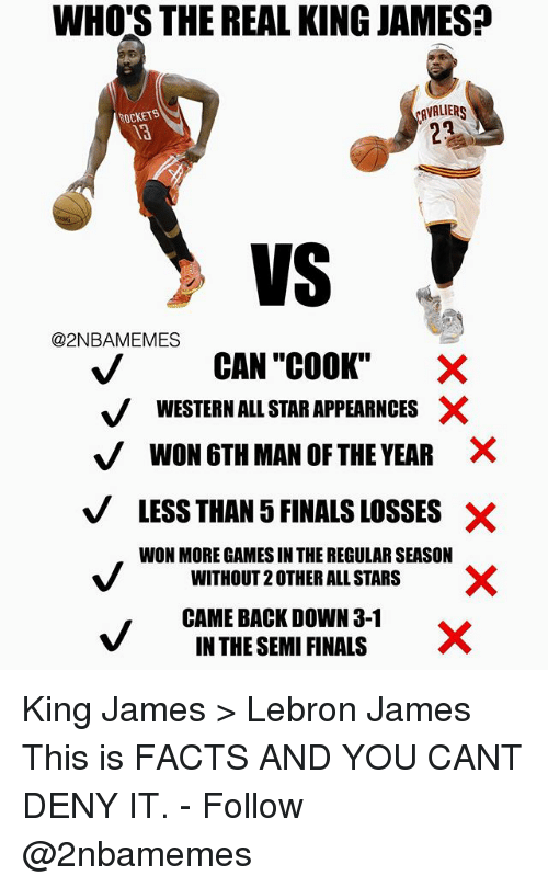 """Semy: WHO'S THE REAL KING JAMES?  AVALIR  ROCKETS  13  VS V  @2NBAMEMES  CAN """"COOK""""  V WESTERN ALL STAR APPEARNCES X  VWON 6TH MAN OF THE YEAR ×  VLESS THAN 5 FINALS LOSSES X  WON MORE GAMES IN THE REGULAR SEASON  WITHOUT 2 OTHER ALL STARS  CAME BACK DOWN 3-1  IN THE SEMI FINALS King James > Lebron James This is FACTS AND YOU CANT DENY IT. - Follow @2nbamemes"""