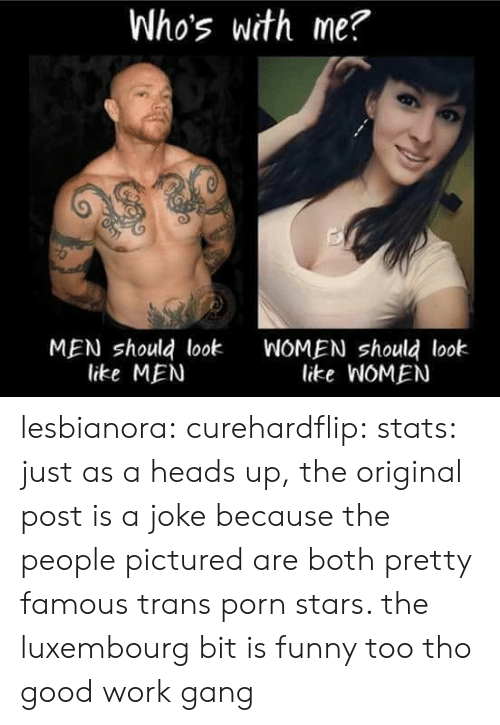 Funny, Tumblr, and Work: Who's with me?  MEN should look  like MEN  WOMEN should look  like WOMEN lesbianora:  curehardflip:  stats:  just as a heads up, the original post is a joke because the people pictured are both pretty famous trans porn stars. the luxembourg bit is funny too tho good work gang
