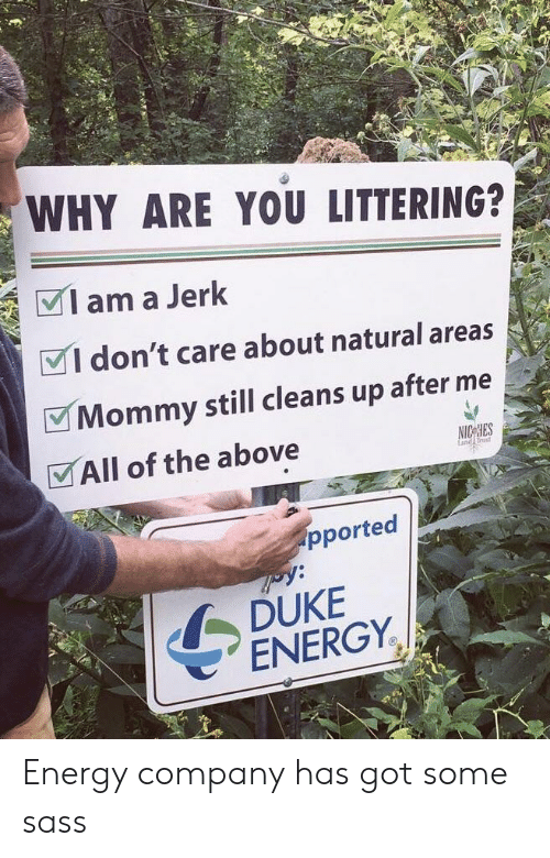 rust: WHY ARE YOU LITTERING?  Iama Jerk  VI don't care about natural areas  Mommy still cleans up after me  VAll of the above  rust  pported  DUKE  ENERGY. Energy company has got some sass