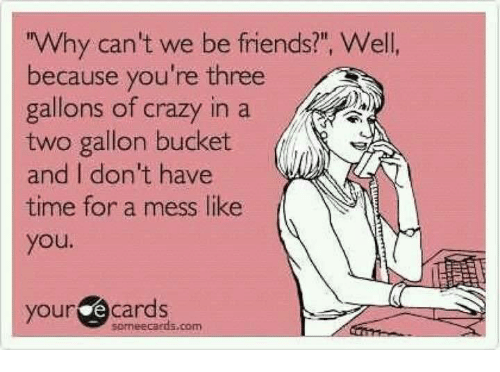 """Ecards: Why can't we be friends?"""", Well  because you're three  gallons of crazy in a  two gallon bucket  and I don't have  j  time for a mess like  you.  our ecards  soneecards.com"""