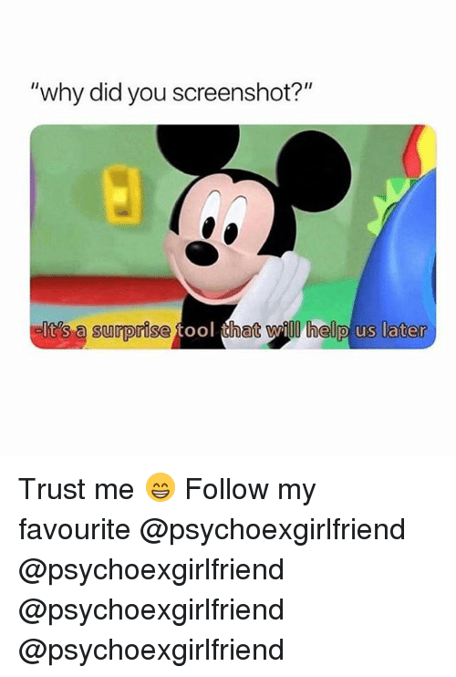 "Tool That: ""why did you screenshot?""  elte's a surprise fool that wil helip us later  it's a surorise tool that Wily heljp us later Trust me 😁 Follow my favourite @psychoexgirlfriend @psychoexgirlfriend @psychoexgirlfriend @psychoexgirlfriend"