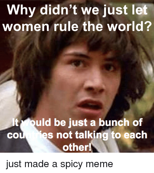 Cou: Why didn't we just let  women rule the world?  It ould be just a bunch of  cou es not talking to each  other! just made a spicy meme