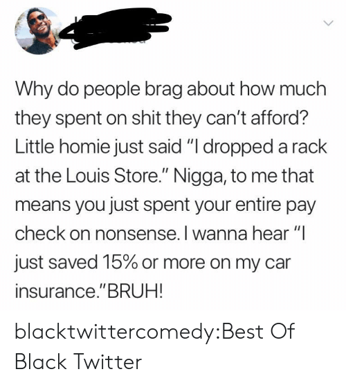 "Bruh, Homie, and Shit: Why do people brag about how much  they spent on shit they can't afford?  Little homie just said ""I dropped a rack  at the Louis Store."" Nigga, to me that  means you just spent your entire pay  check on nonsense. I wanna hear ""I  just saved 15% or more on my car  insurance.""BRUH! blacktwittercomedy:Best Of Black Twitter"