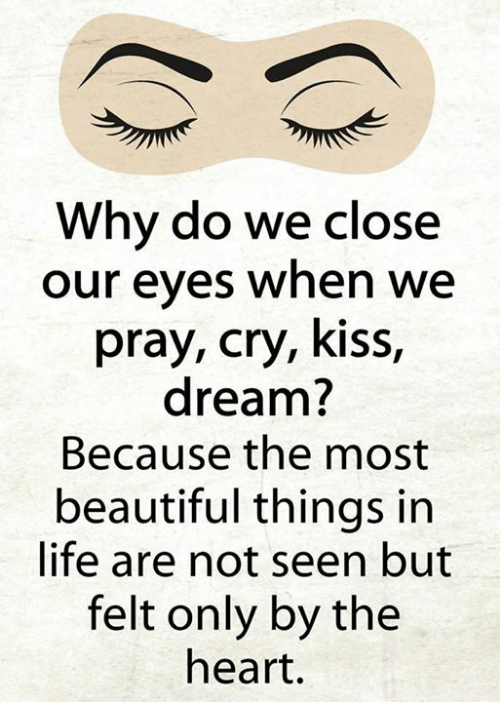 Seens: Why do we close  our eyes when we  pray, cry, kiss  dream?  Because the most  beautiful things in  life are not seen but  felt only by the  heart