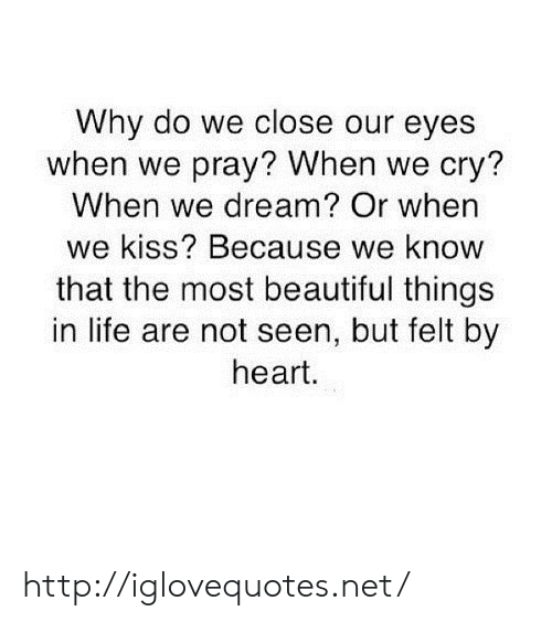 beautiful things: Why do we close our eyes  when we pray? When we cry?  When we dream? Or when  we kiss? Because we know  that the most beautiful things  in life are not seen, but felt by  heart. http://iglovequotes.net/
