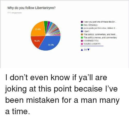 Memes, Pizza, and Politics: Why do you follow Libertarirynn?  111 responses  I saw you post one of these like Bir...  Holy Orthodoxy  pizza pasta put it in a box, deliver it...  O I don't  23.4%  The politics, commentary, and mem.  The politics,memes, and commentary  16.2%  . I WARNED YOU  YOURE A HER?!?  33.3% <p>I don't even know if ya'll are joking at this point becaise I've been mistaken for a man many a time. </p>