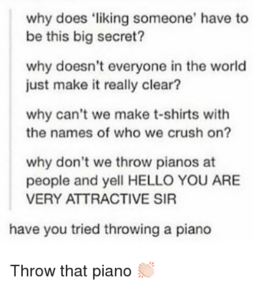 liking someone: why does liking someone' have to  be this big secret?  why doesn't everyone in the world  just make it really clear?  why can't we make t-shirts with  the names of who we crush on?  why don't we throw pianos at  people and yell HELLO YOU ARE  VERY ATTRACTIVE SIR  have you tried throwing a piano Throw that piano 👏🏻