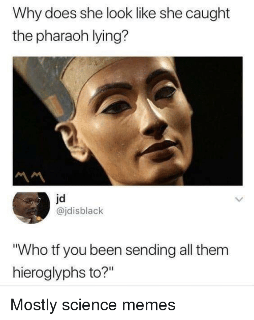 "pharaoh: Why does she look like she caught  the pharaoh lying?  jd  @jdisblack  Who tf you been sending all them  hieroglyphs to?"" Mostly science memes"