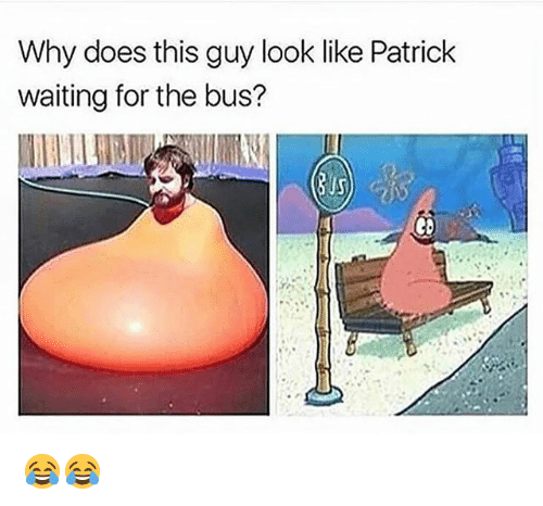 Funny, Waiting..., and Bus: Why does this guy look like Patrick  waiting for the bus?  eb 😂😂