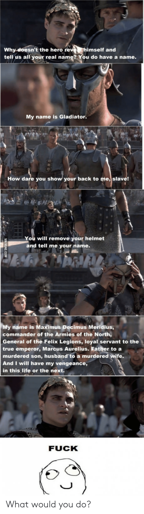Gladiator: Why-doesn't the hero re  imself and  tell us all your real name? You do have a name.  My name is Gladiator.  How dare you show your back to me, slave!  You will remove your helmet  and tell me your name.  My name is Maximus Decimus Meridius  commander of the Armies of the North,  General of the Felix Legions, loyal servant to the  true emperor, Marcus Aurelius. Father to a  murdered son, husband to a murdered wife  And I will have my vengeance,  in this, life or the next.  FUCK What would you do?