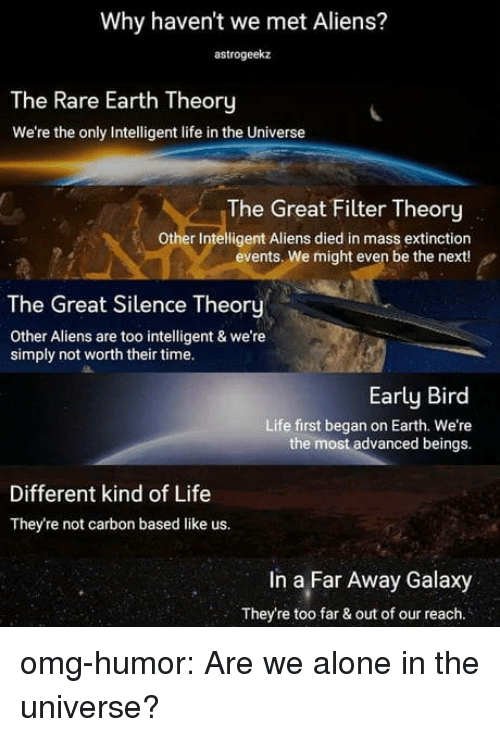 Far Out: Why haven't we met Aliens?  astrogeekaz  The Rare Earth Theory  We're the only Intelligent life in the Universe  The Great Filter Theory  Other Intelligent Aliens died in mass extinction  events. We might even be the next!  The Great Silence Theory  Other Aliens are too intelligent & we're  simply not worth their time.  Early Bird  Life first began on Earth. We're  the most advanced beings.  Different kind of Life  They're not carbon based like us.  In a Far Away Galaxy  They're too far & out of our reach. omg-humor:  Are we alone in the universe?