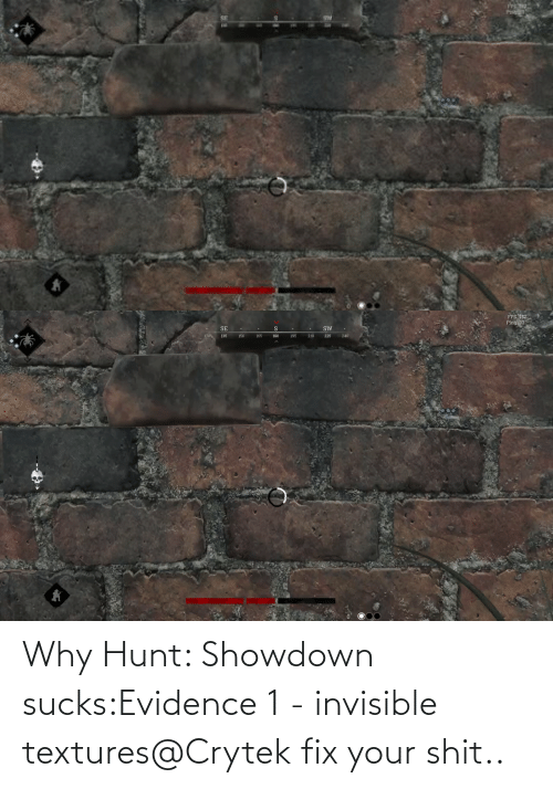 Hunt: Why Hunt: Showdown sucks:Evidence 1 - invisible textures@Crytek fix your shit..