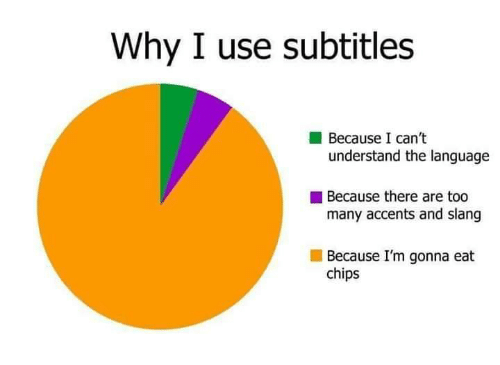 accents: Why I use subtitles  Because I can't  understand the language  Because there are too  many accents and slang  Because I'm gonna eat  chips
