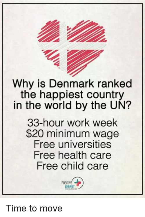 Energy, Work, and Denmark: Why is Denmark ranked  the happiest country  in the world by the UN?  33-hour work week  $20 minimum wage  Free universities  Free health care  Free child care  POSITIVE  ENERGY Time to move