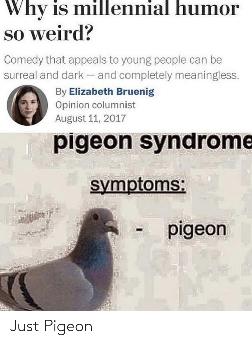 Weird, Comedy, and Dark: Why is millennial humor  so weird?  Comedy that appeals to young people can be  surreal and dark - and completely meaningless.  By Elizabeth Bruenig  Opinion columnist  August 11, 2017  pigeon syndrome  symptoms:  pigeon Just Pigeon