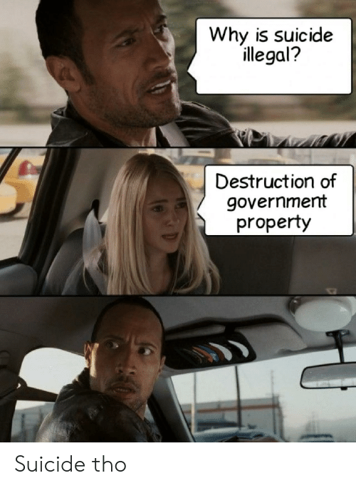 destruction: Why is suicide  illegal?  Destruction of  government  property Suicide tho
