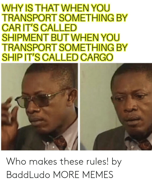 transport: WHY IS THATWHEN YOU  TRANSPORT SOMETHING BY  CARIT'S CALLED  SHIPMENT BUT WHEN YOU  TRANSPORT SOMETHING BY  SHIP IT'S CALLED CARGO Who makes these rules! by BaddLudo MORE MEMES