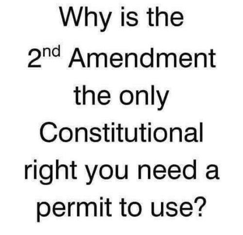 2nd Amendment: Why is the  2nd Amendment  the only  Constitutional  right you need a  permit to use?