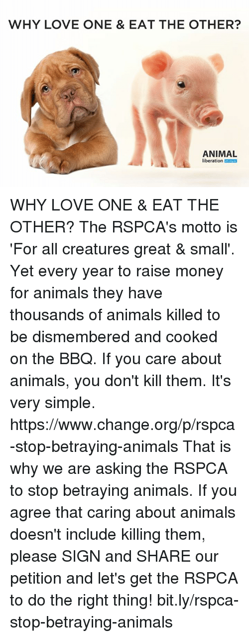 Rspca: WHY LOVE ONE & EAT THE OTHER?  ANIMAL  liberation WHY LOVE ONE & EAT THE OTHER?  The RSPCA's motto is 'For all creatures great & small'. Yet every year to raise money for animals they have thousands of animals killed to be dismembered and cooked on the BBQ.  If you care about animals, you don't kill them. It's very simple.   https://www.change.org/p/rspca-stop-betraying-animals  That is why we are asking the RSPCA to stop betraying animals. If you agree that caring about animals doesn't include killing them, please SIGN and SHARE our petition and let's get the RSPCA to do the right thing! bit.ly/rspca-stop-betraying-animals