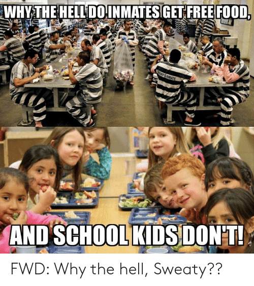 Sheaf: WHY THE HELL DOINMATES GET FREE FOOD,  IFF S INMATE  SHEAF  AND SCHOOL KIDS DONT! FWD: Why the hell, Sweaty??