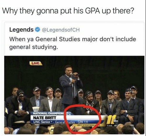 Abc, Live, and Unc: Why they gonna put his GPA up there?  Legends @LegendsofCH  When ya General Studies major don't include  general studying.  LIVE  NATIONAL CHAMPION  NATE BRITT  UNC Senior*-General tudies-GPA 1.11  abc  ABCIT EYEWITNESS  7:44 81
