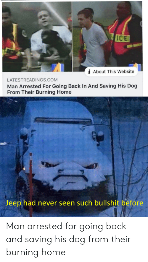 Jeep: WICE  About This Website  LATESTREADINGS.COM  Man Arrested For Going Back In And Saving His Dog  From Their Burning Home  Jeep had never seen such bullshit before Man arrested for going back and saving his dog from their burning home