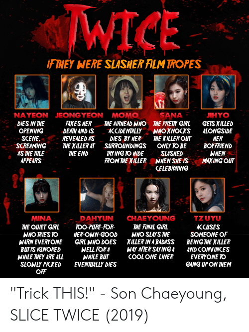 """tropes: WICE  F THEY WERE  SLASHER ALM TROPES  NAYEON JEONGYEON  SANA  MOMO  THE AIRHEAD WHO  ACCIDENTALLY  DIES BY HER  SURROUNDINGS  TRY ING TO HIDE  FROM THE KILLER  JIHYO  FAKES HER  DEATH AND IS  REVEALED AS  THE KILLER AT  THE END  GETS KILLED  ALONGSIDE  HER  BOYFRIEND  WHEN  MAKING OUT  DIES IN THE  OPENING  SCENE.  SCREAMING  AS THE TITLE  APPEARS  THE PRETY GIRL  WHO KNOCKS  THE KILLER OUT  ONLY TO BE  SLASHED  WHEN SHE IS  CELEBRATING  TZUYU  CHAEYOUNG  MINA  THE QUIET GIRL  WHO TRIES TO  WARN EVERYONE  BUTIS IGNORED  WHILE THEY ARE ALL  SLOWLY PIKKED  OFF  DAHYUN  THE FINAL GIRL  WHO SLAYS THE  KILLER IN A BADASS  WAY AFIER SAY ING A  COOL ONE-LINER  TOO PURE-FOR-  HER-OWN-GOOD  GIRL WHO DOES  WELL FOR A  WHILE BUT  EVENTUALLY DIES  ACCUSES  SOMEONE OF  BEING THE KILLER  AND CONVINCES  EVERYONE TO  GANG UP ON THEM """"Trick THIS!"""" - Son Chaeyoung, SLICE TWICE (2019)"""