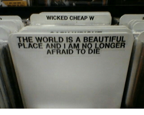 A Beautiful Place: WICKED CHEAP W  THE WORLD IS A BEAUTIFUL  PLACE AND I AM NO LONGER  AFRAID TO DIE