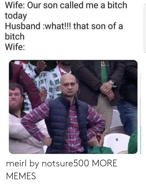 Bitch, Dank, and Memes: Wife: Our son called me a bitch  today  Husband :what!!! that son of a  bitch  Wife:  IS meirl by notsure500 MORE MEMES