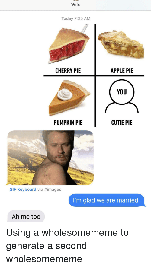pumpkin pie: Wife  Today 7:25 AM  CHERRY PIE  APPLE PIE  YoU  PUMPKIN PIE  CUTIE PIE  GIF Keyboard via #images  I'm glad we are married  Ah me too Using a wholesomememe to generate a second wholesomememe