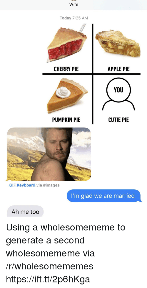 pumpkin pie: Wife  Today 7:25 AM  CHERRY PIE  APPLE PIE  YoU  PUMPKIN PIE  CUTIE PIE  GIF Keyboard via #images  I'm glad we are married  Ah me too Using a wholesomememe to generate a second wholesomememe via /r/wholesomememes https://ift.tt/2p6hKga