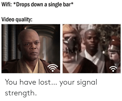 Lost, Video, and Wifi: Wifi: *Drops down a single bar*  Video quality:  SOLID SNARK You have lost… your signal strength.