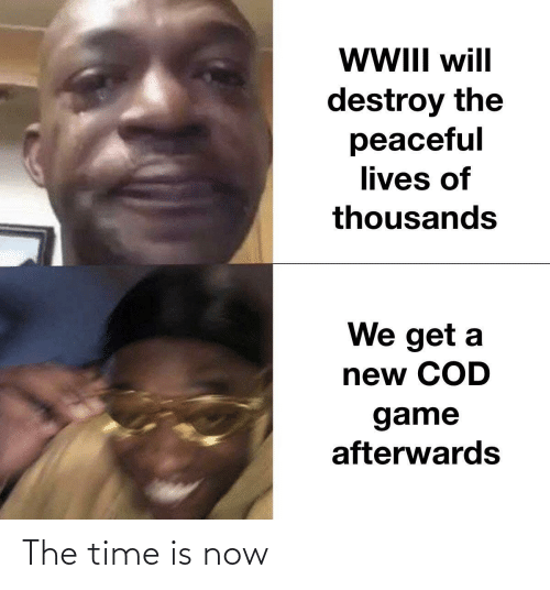 the time: WII will  destroy the  peaceful  lives of  thousands  We get a  new COD  game  afterwards The time is now