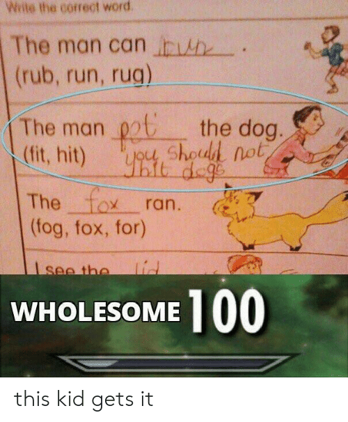 Run, Word, and Wholesome: Wiite the correct word  The man can in itte--.  (rub, run, rug)  The man pthe dog.  (fit, hit)  The to乂ran.  shoold not、  一一  (tog, fox, for)  WHOLESOME 100 this kid gets it