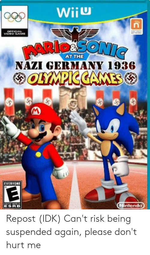 wiiu: Wiiu  MATEMDO  NEWORK  OFFICIAL  VIDEO GAME  ARIpaSONIC.  NAZI GERMANY 1936  OOLYMPICCAMES O  EVERYONE  CENTEST ATIDN  ESRB  Nintendo Repost (IDK) Can't risk being suspended again, please don't hurt me