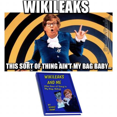 Donald Trump, Memes, and Trump: WIKILEAKS  THIS SORT OFTHING AIN'T MY BAG BABY  WIKILEAKS  AND ME  This Sort of Thing Is  My Bag. Baby)  BY  DONALD  TRUMP