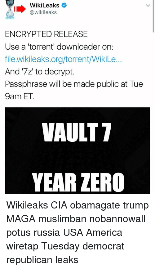 wikileaks wikileaks encrypted release use a torrent downloader on file 15826471 ✅ 25 best memes about vault 7 year zero vault 7 year zero memes