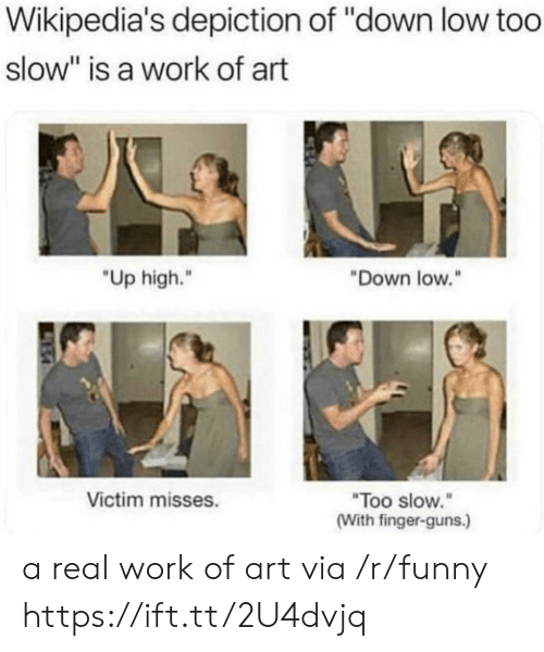 """depiction: Wikipedia's depiction of """"down low too  slow"""" is a work of art  """"Up high.""""  Down low.""""  Too slow.  (With finger-guns.)  Victim misses. a real work of art via /r/funny https://ift.tt/2U4dvjq"""