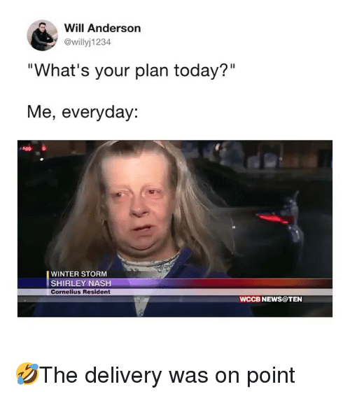 "Memes, News, and Winter: Will Anderson  @willyj1234  ""What's your plan today?""  Me, everyday:  WINTER STORM  SHIRLEY NASH  Cornelius Resident  WCCB NEWS@TEN 🤣The delivery was on point"