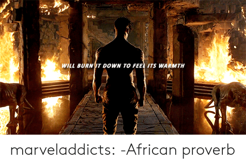 Target, Tumblr, and Blog: WILL BURN T DOWN TO FEE ITS WARMTH marveladdicts: -African proverb