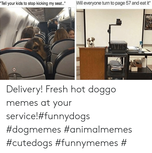 "kicking: Will everyone turn to page 57 and eat it""  Tell your kids to stop kicking my seat."" Delivery! Fresh hot doggo memes at your service!#funnydogs #dogmemes #animalmemes #cutedogs #funnymemes #"