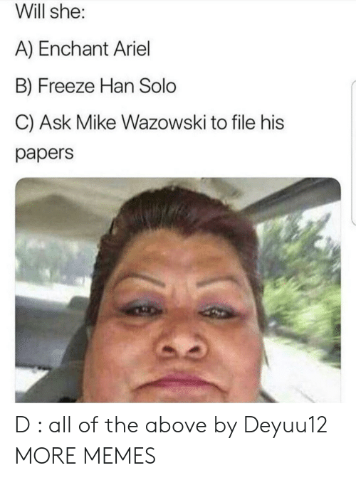 Han Solo: Will she:  A) Enchant Ariel  B) Freeze Han Solo  C) Ask Mike Wazowski to file his  papers D : all of the above by Deyuu12 MORE MEMES