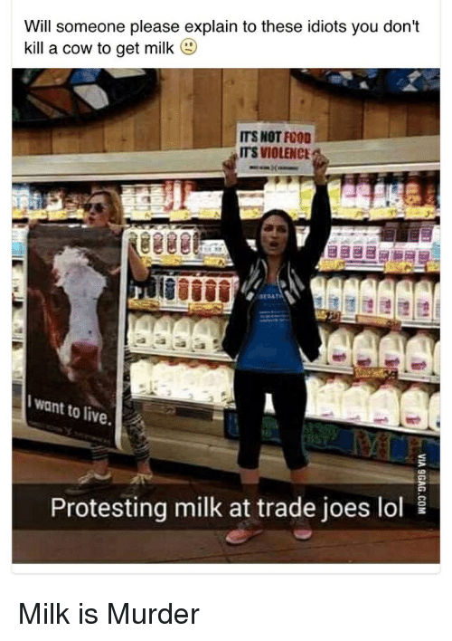 joes: Will someone please explain to these idiots you don't  kill a cow to get milk  (g)  ITS NOT FOOD  ITS VIOLENCE  want to live.  10  Protesting milk at trade joes lol Milk is Murder