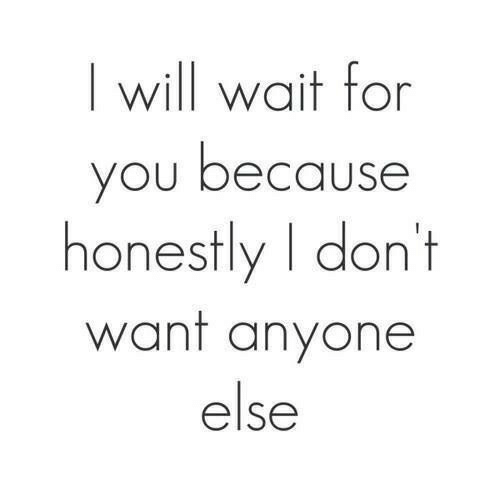 Will, You, and For: will wait for  you because  honestly I dont  want anyone  else