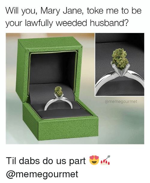 Husband Meme: Will you, Mary Jane, toke me to be  your lawfully weeded husband?  @meme gourmet Til dabs do us part 😍💅🏻 @memegourmet
